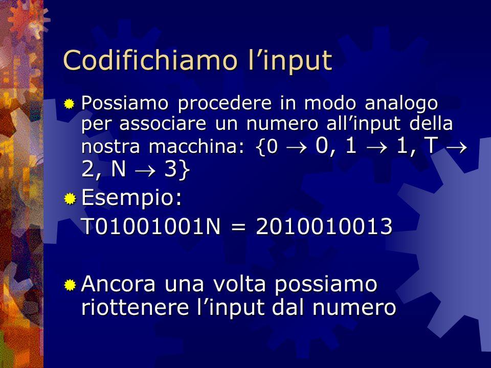 Codifichiamo linput Possiamo procedere in modo analogo per associare un numero allinput della nostra macchina: {0 0, 1 1, T 2, N 3} Possiamo procedere