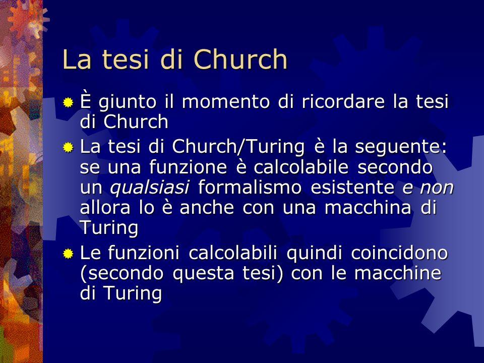 La tesi di Church È giunto il momento di ricordare la tesi di Church È giunto il momento di ricordare la tesi di Church La tesi di Church/Turing è la