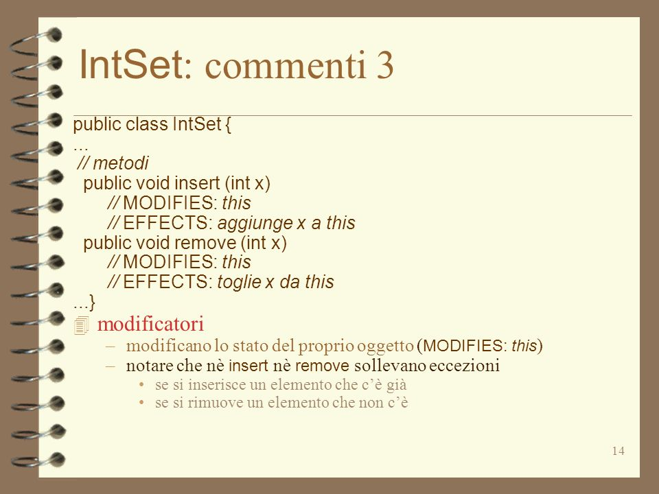 14 IntSet : commenti 3 public class IntSet {... // metodi public void insert (int x) // MODIFIES: this // EFFECTS: aggiunge x a this public void remov