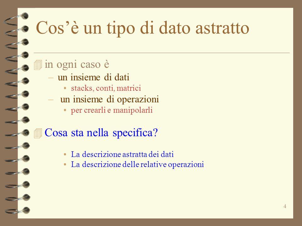 4 Cosè un tipo di dato astratto 4 in ogni caso è –un insieme di dati stacks, conti, matrici – un insieme di operazioni per crearli e manipolarli 4 Cosa sta nella specifica.