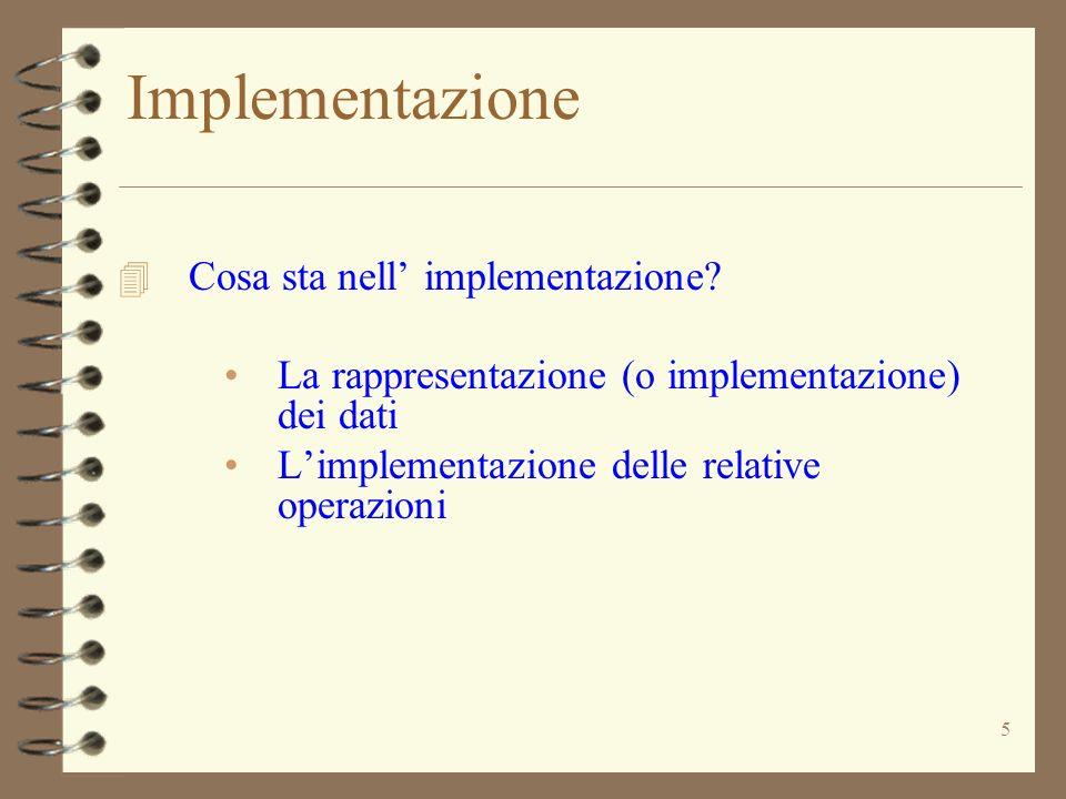 5 Implementazione 4 Cosa sta nell implementazione.