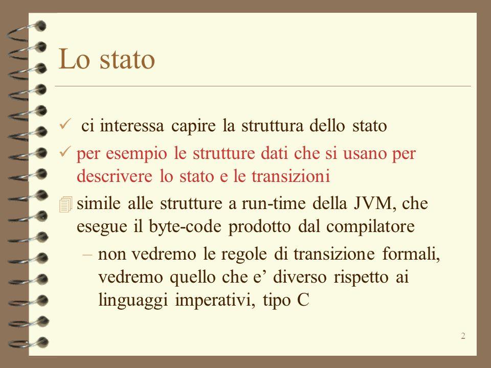 2 Lo stato ci interessa capire la struttura dello stato per esempio le strutture dati che si usano per descrivere lo stato e le transizioni 4 simile alle strutture a run-time della JVM, che esegue il byte-code prodotto dal compilatore –non vedremo le regole di transizione formali, vedremo quello che e diverso rispetto ai linguaggi imperativi, tipo C
