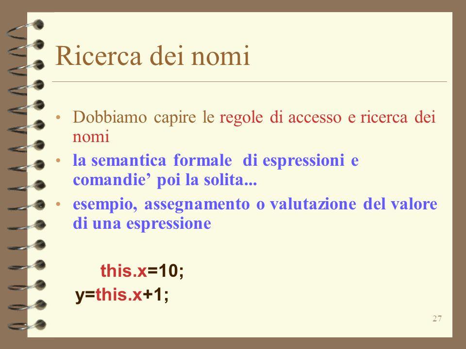27 Ricerca dei nomi Dobbiamo capire le regole di accesso e ricerca dei nomi la semantica formale di espressioni e comandie poi la solita...