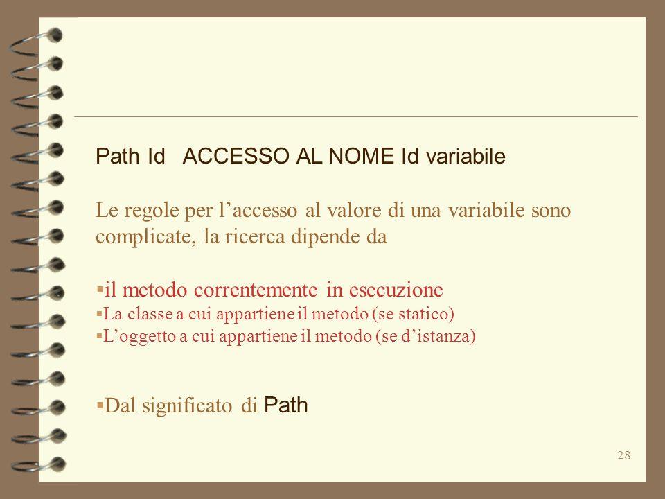 28 Path Id ACCESSO AL NOME Id variabile Le regole per laccesso al valore di una variabile sono complicate, la ricerca dipende da il metodo correntemente in esecuzione La classe a cui appartiene il metodo (se statico) Loggetto a cui appartiene il metodo (se distanza) Dal significato di Path