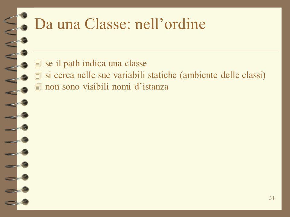 31 Da una Classe: nellordine 4 se il path indica una classe 4 si cerca nelle sue variabili statiche (ambiente delle classi) 4 non sono visibili nomi distanza