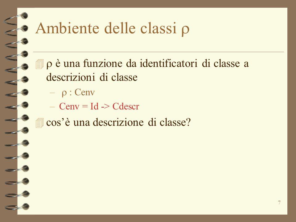 7 Ambiente delle classi è una funzione da identificatori di classe a descrizioni di classe – : Cenv –Cenv = Id -> Cdescr 4 cosè una descrizione di classe?