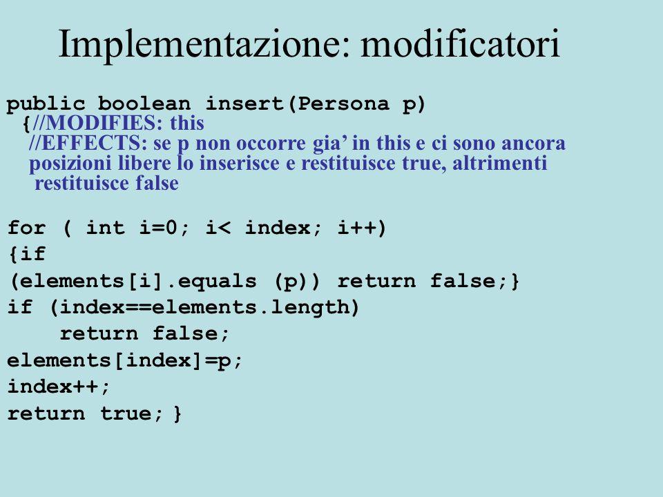 Implementazione: modificatori public boolean insert(Persona p) { //MODIFIES: this //EFFECTS: se p non occorre gia in this e ci sono ancora posizioni l
