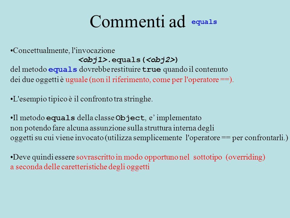Commenti ad Concettualmente, l'invocazione.equals( ) del metodo equals dovrebbe restituire true quando il contenuto dei due oggetti è uguale (non il r