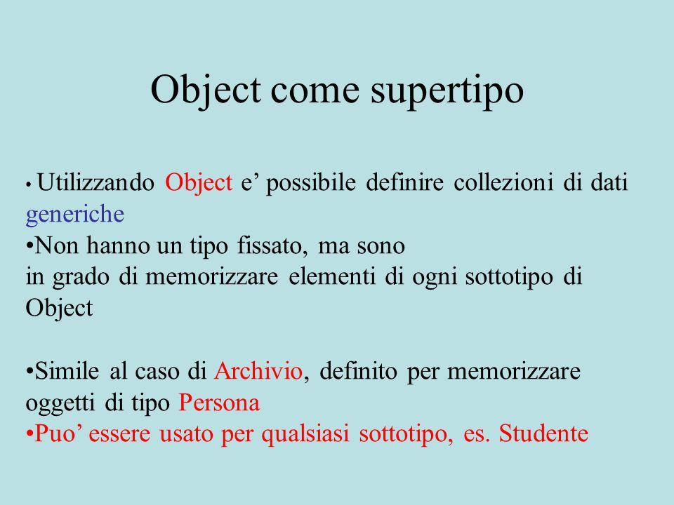 Object come supertipo Utilizzando Object e possibile definire collezioni di dati generiche Non hanno un tipo fissato, ma sono in grado di memorizzare