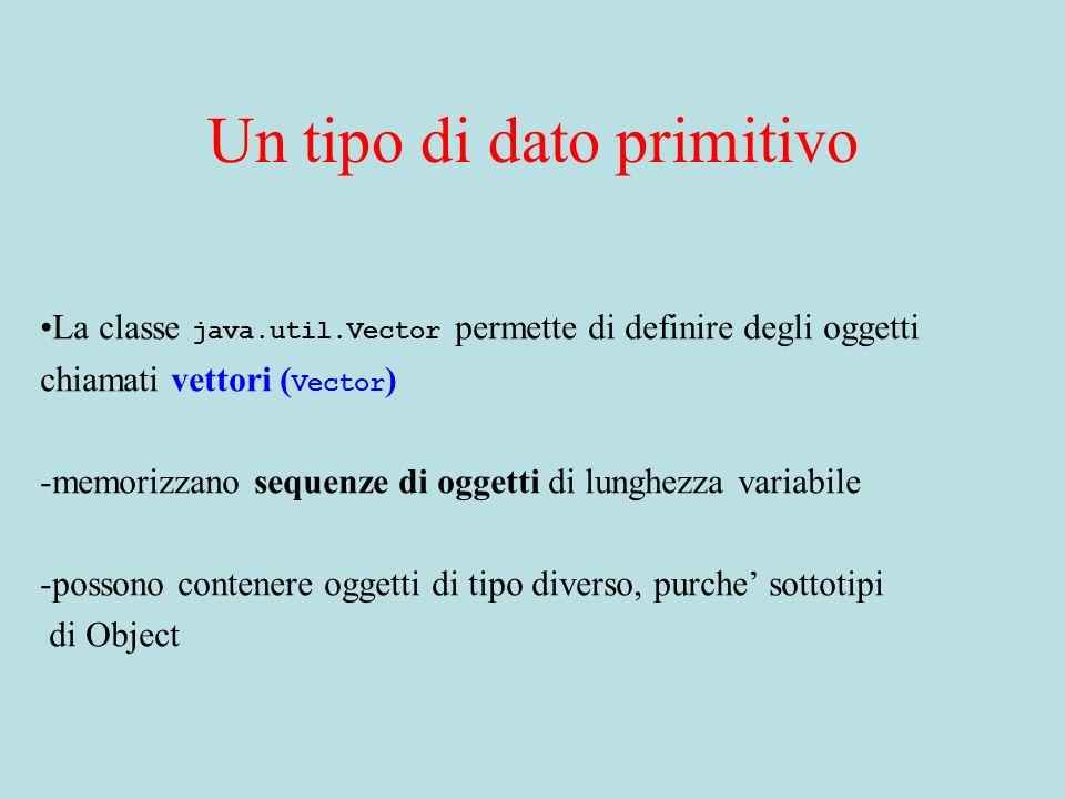Un tipo di dato primitivo La classe java.util.Vector permette di definire degli oggetti chiamati vettori ( Vector ) -memorizzano sequenze di oggetti d