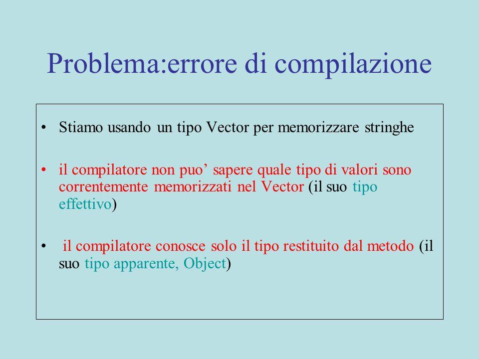 Problema:errore di compilazione Stiamo usando un tipo Vector per memorizzare stringhe il compilatore non puo sapere quale tipo di valori sono corrente