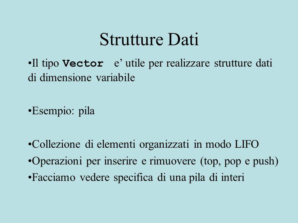 Strutture Dati Il tipo Vector e utile per realizzare strutture dati di dimensione variabile Esempio: pila Collezione di elementi organizzati in modo L
