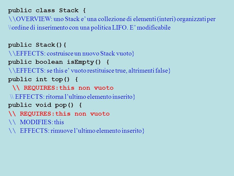 public class Stack { \\ OVERVIEW: uno Stack e una collezione di elementi (interi) organizzati per \\ordine di inserimento con una politica LIFO. E mod