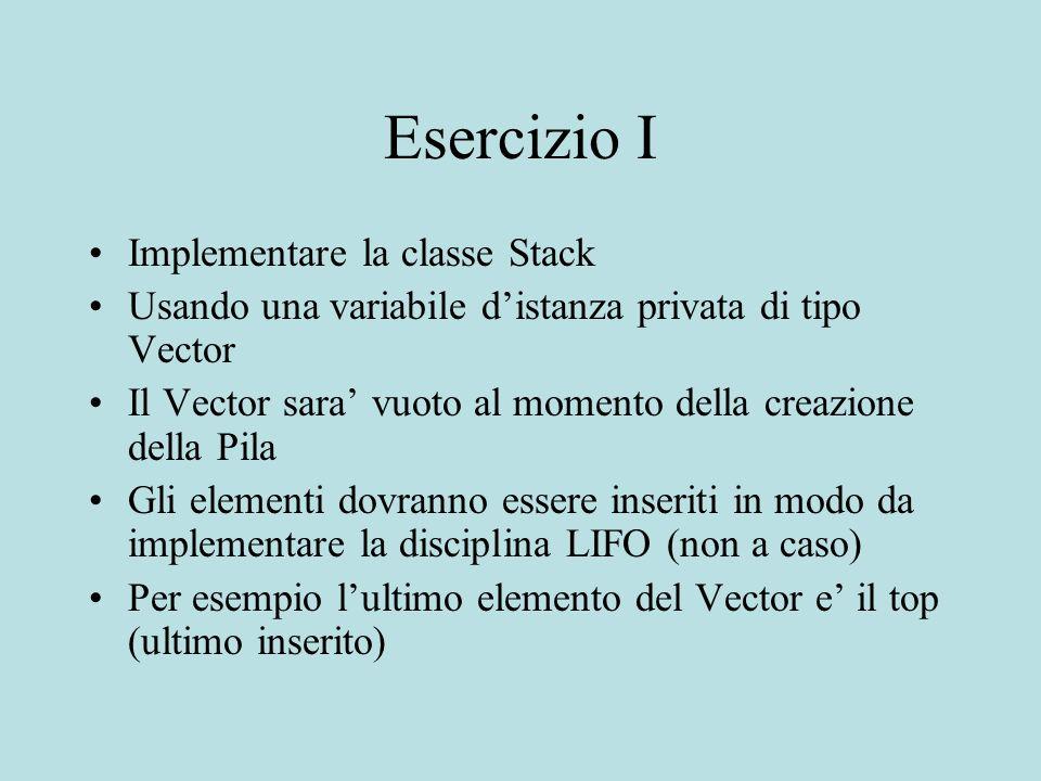 Esercizio I Implementare la classe Stack Usando una variabile distanza privata di tipo Vector Il Vector sara vuoto al momento della creazione della Pi