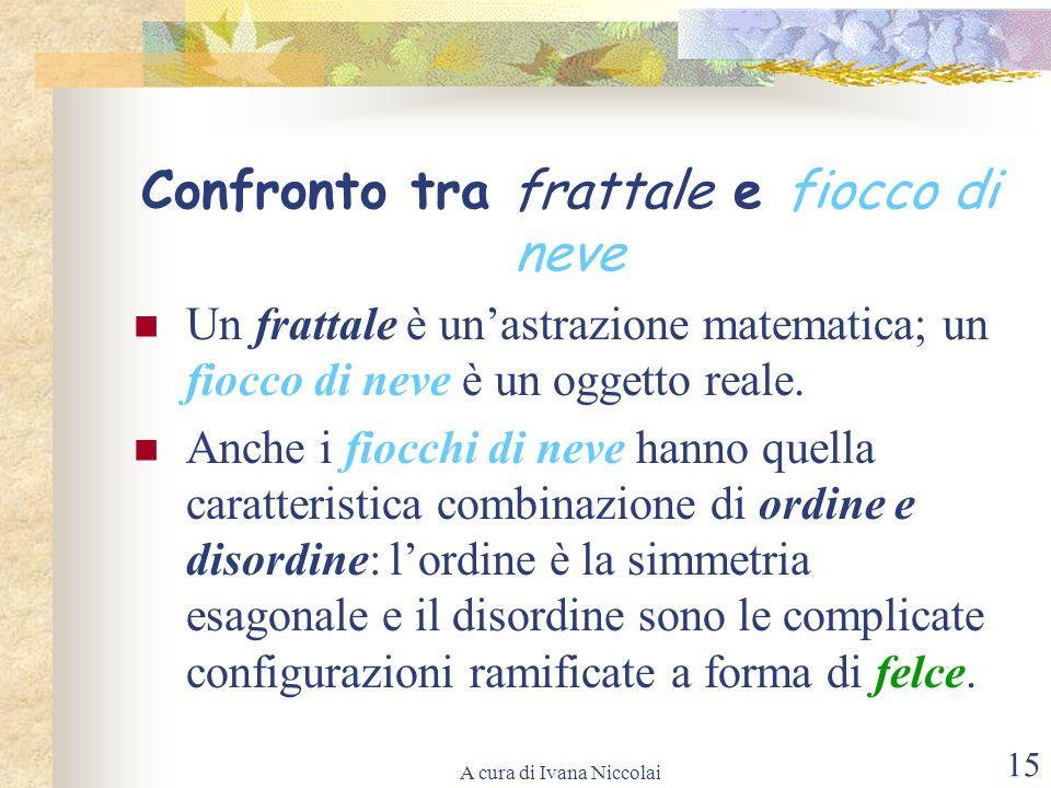 A cura di Ivana Niccolai 15 Confronto tra frattale e fiocco di neve Un frattale è unastrazione matematica; un fiocco di neve è un oggetto reale. Anche