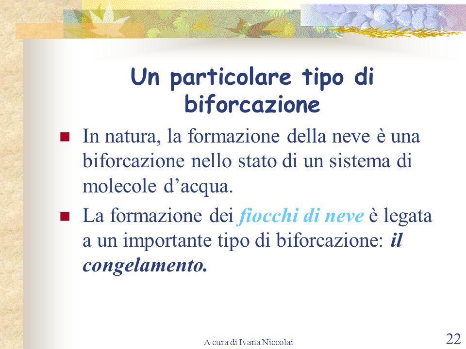 A cura di Ivana Niccolai 22 Un particolare tipo di biforcazione In natura, la formazione della neve è una biforcazione nello stato di un sistema di mo