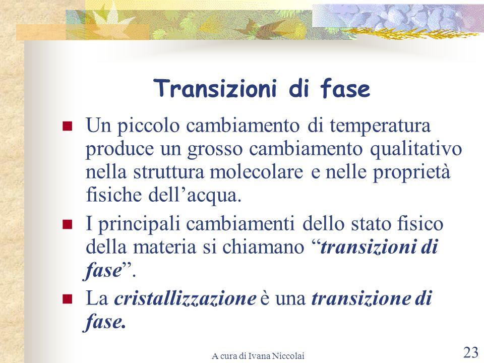 A cura di Ivana Niccolai 23 Transizioni di fase Un piccolo cambiamento di temperatura produce un grosso cambiamento qualitativo nella struttura moleco