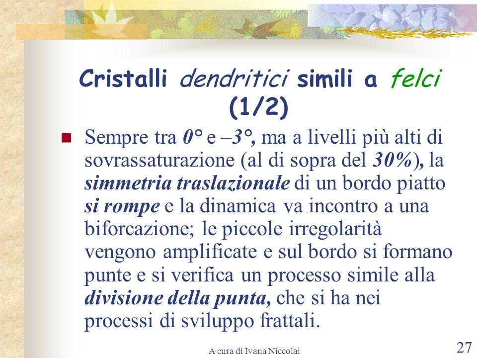 A cura di Ivana Niccolai 27 Cristalli dendritici simili a felci (1/2) Sempre tra 0° e –3°, ma a livelli più alti di sovrassaturazione (al di sopra del