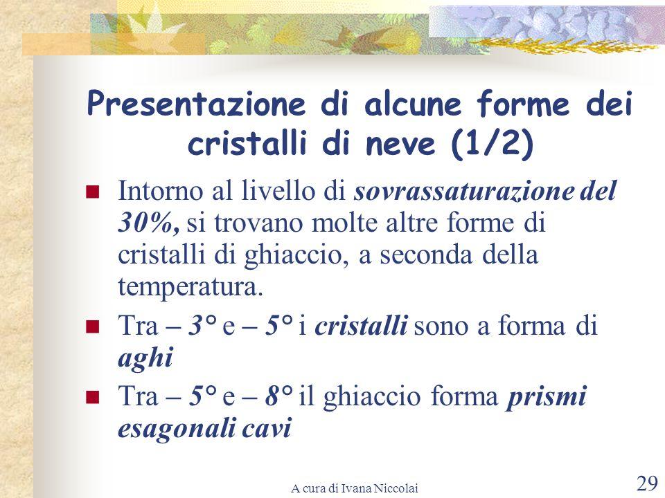A cura di Ivana Niccolai 29 Presentazione di alcune forme dei cristalli di neve (1/2) Intorno al livello di sovrassaturazione del 30%, si trovano molt