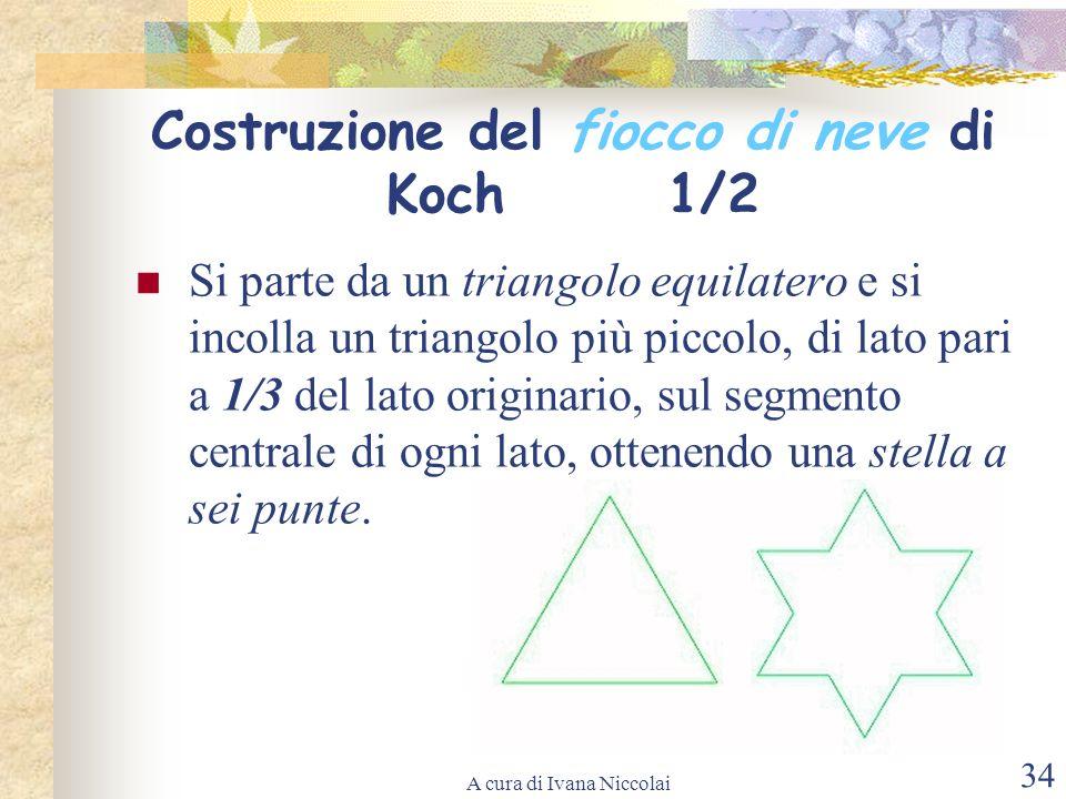 A cura di Ivana Niccolai 34 Costruzione del fiocco di neve di Koch 1/2 Si parte da un triangolo equilatero e si incolla un triangolo più piccolo, di l