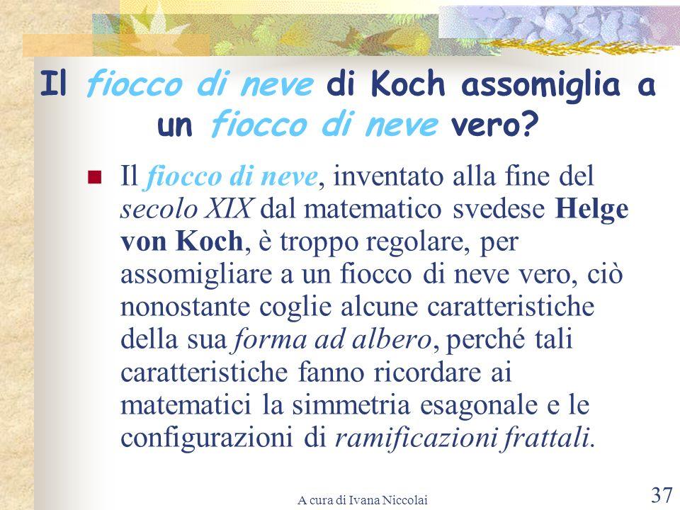 A cura di Ivana Niccolai 37 Il fiocco di neve di Koch assomiglia a un fiocco di neve vero? Il fiocco di neve, inventato alla fine del secolo XIX dal m