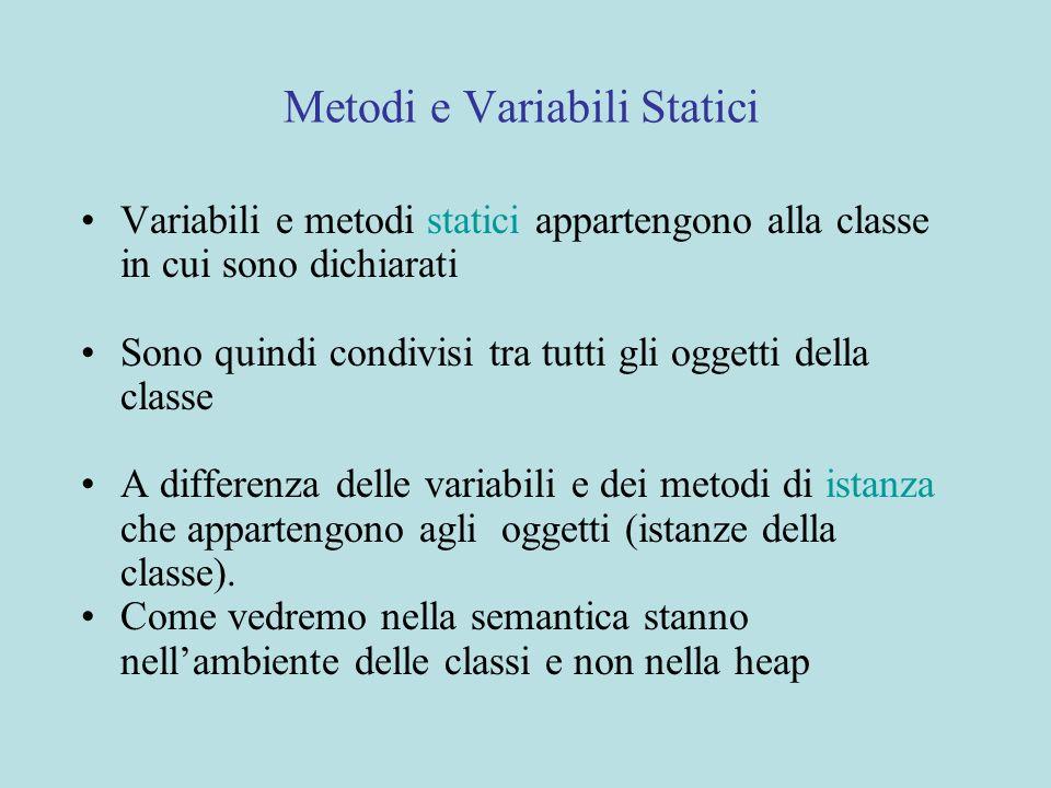 Metodi e Variabili Statici Variabili e metodi statici appartengono alla classe in cui sono dichiarati Sono quindi condivisi tra tutti gli oggetti della classe A differenza delle variabili e dei metodi di istanza che appartengono agli oggetti (istanze della classe).