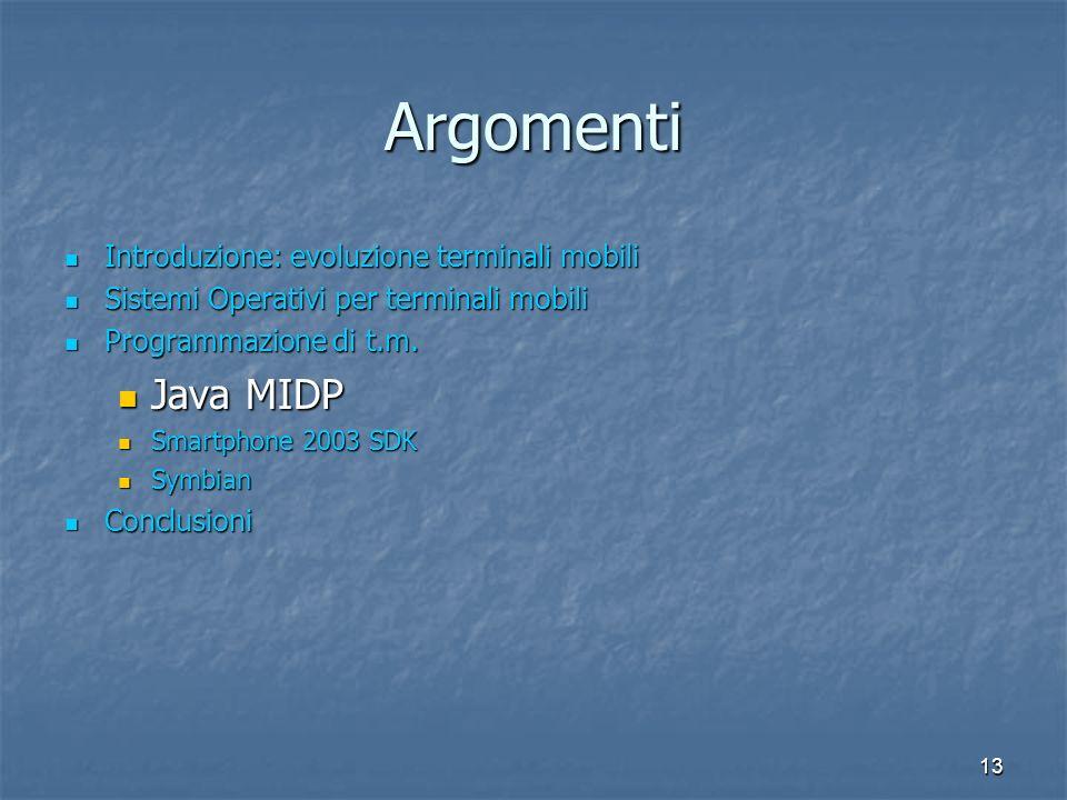 13 Argomenti Introduzione: evoluzione terminali mobili Introduzione: evoluzione terminali mobili Sistemi Operativi per terminali mobili Sistemi Operativi per terminali mobili Programmazione di t.m.
