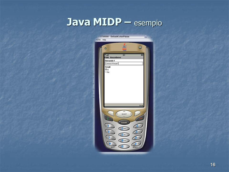 16 Java MIDP – esempio