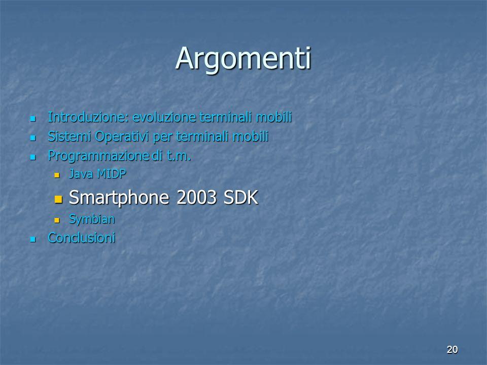 20 Argomenti Introduzione: evoluzione terminali mobili Introduzione: evoluzione terminali mobili Sistemi Operativi per terminali mobili Sistemi Operativi per terminali mobili Programmazione di t.m.