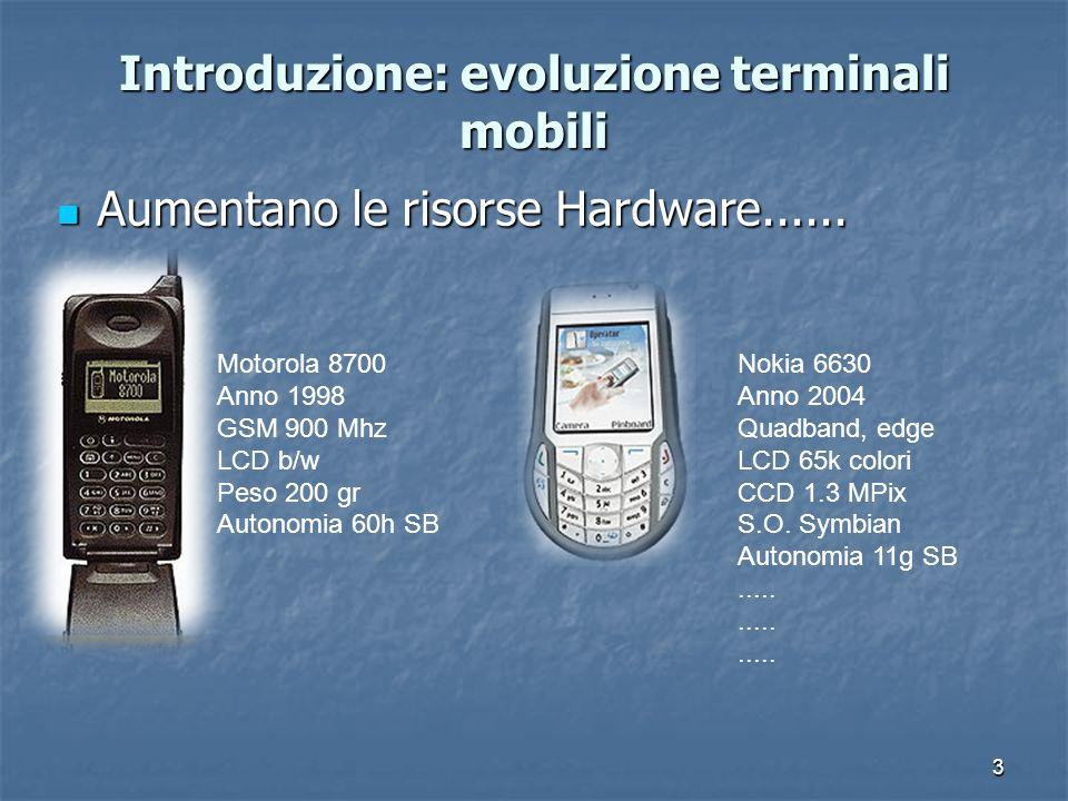 3 Introduzione: evoluzione terminali mobili Aumentano le risorse Hardware......
