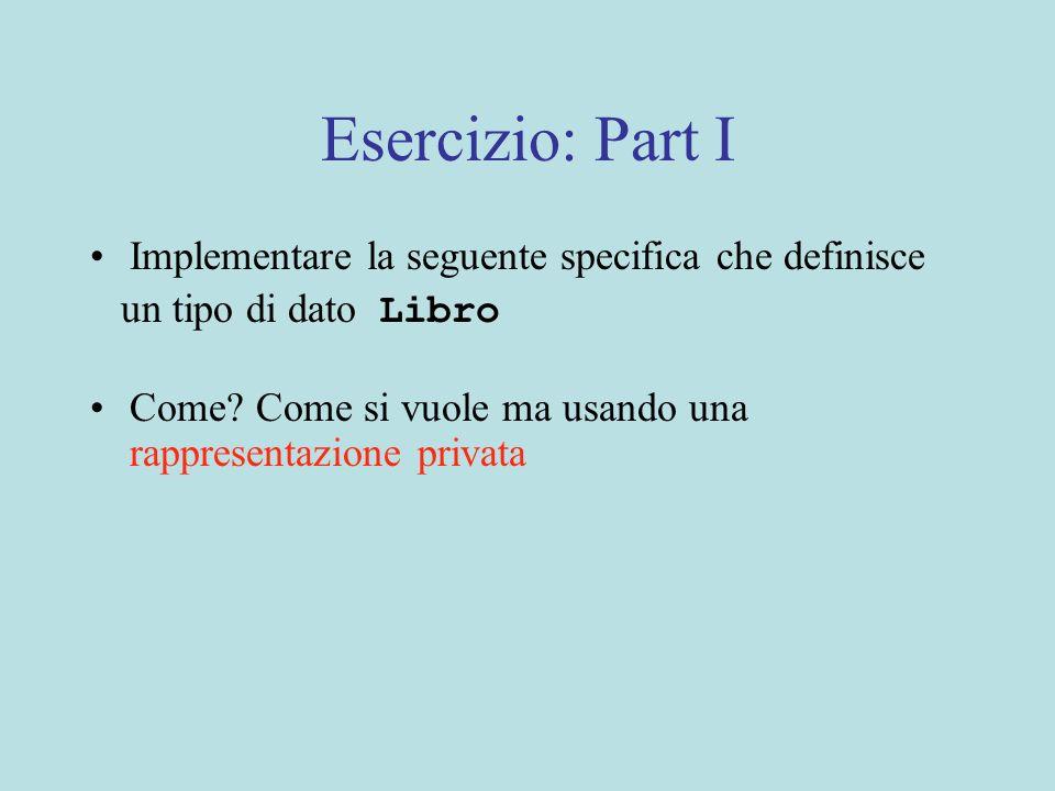 Esercizio: Part I Implementare la seguente specifica che definisce un tipo di dato Libro Come.