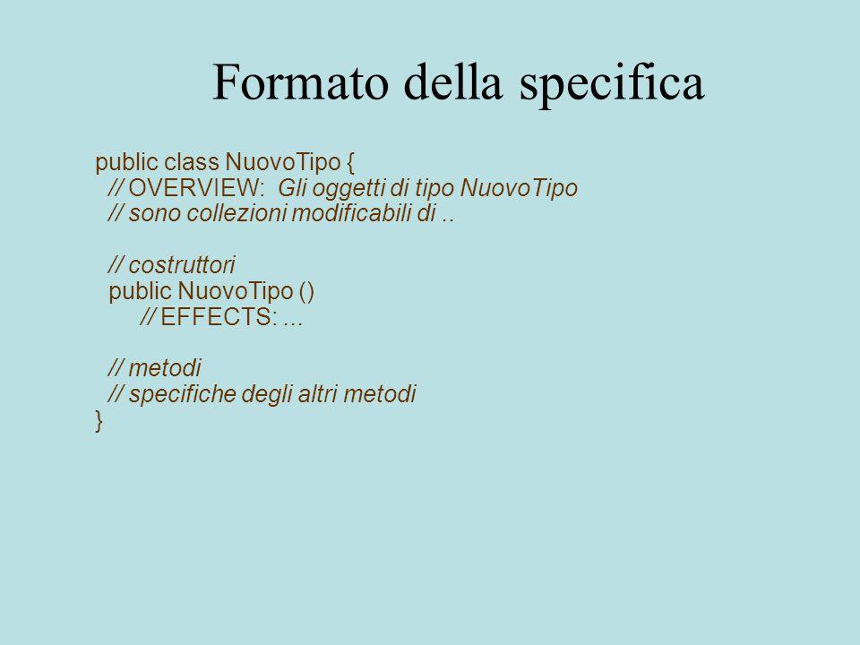 Formato della specifica public class NuovoTipo { // OVERVIEW: Gli oggetti di tipo NuovoTipo // sono collezioni modificabili di..