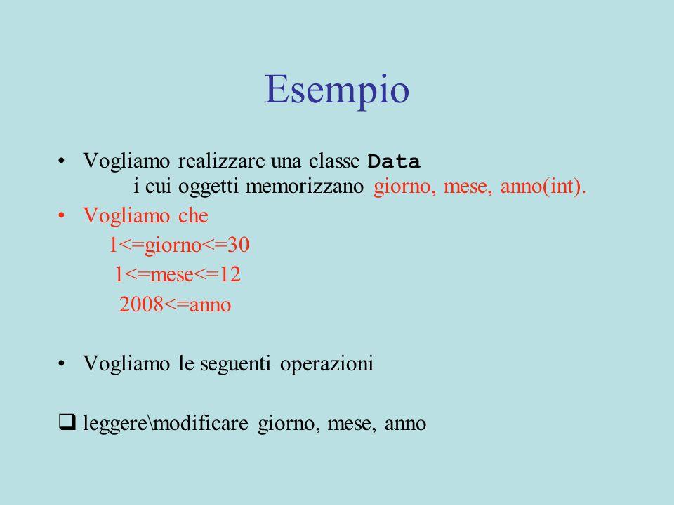 Una possibile specifica public class Data{ //OVERVIEW: una Data memorizza giorno, mese, anno // costruttore public Data(int g, int m,int a){ //REQUIRES: 1 = 2008 //EFFECTS: crea una nuova Data con giorno g, mese //m ed anno a}