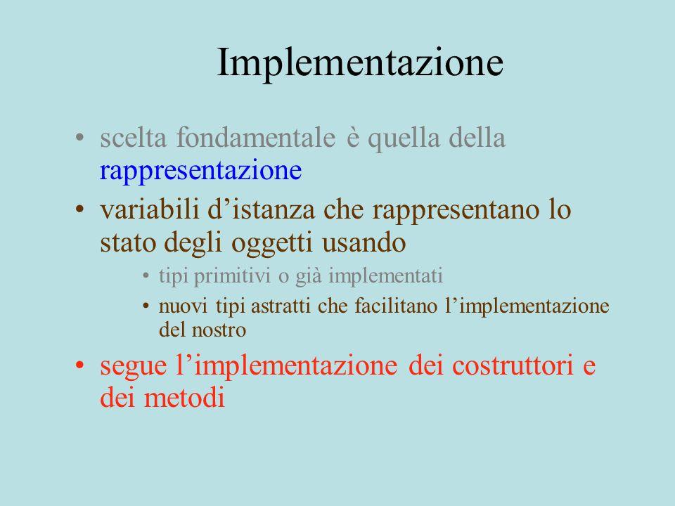 Implementazione scelta fondamentale è quella della rappresentazione variabili distanza che rappresentano lo stato degli oggetti usando tipi primitivi o già implementati nuovi tipi astratti che facilitano limplementazione del nostro segue limplementazione dei costruttori e dei metodi
