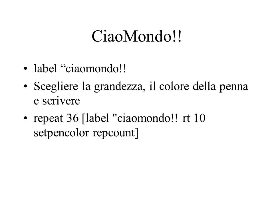 CiaoMondo!! label ciaomondo!! Scegliere la grandezza, il colore della penna e scrivere repeat 36 [label