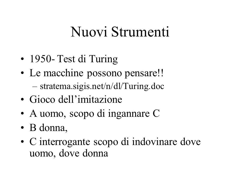 Nuovi Strumenti 1950- Test di Turing Le macchine possono pensare!.