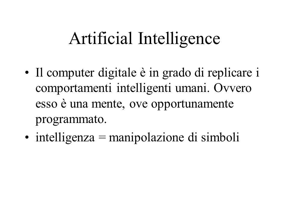 Artificial Intelligence Il computer digitale è in grado di replicare i comportamenti intelligenti umani.