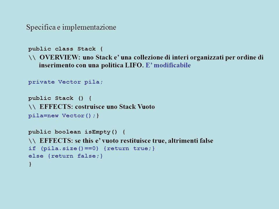 Specifica e implementazione public class Stack { \\ OVERVIEW: uno Stack e una collezione di interi organizzati per ordine di inserimento con una politica LIFO.