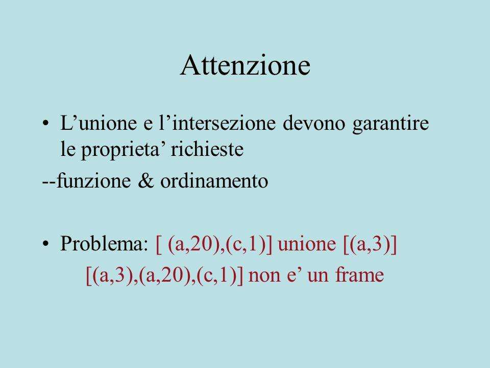 Attenzione Lunione e lintersezione devono garantire le proprieta richieste --funzione & ordinamento Problema: [ (a,20),(c,1)] unione [(a,3)] [(a,3),(a,20),(c,1)] non e un frame