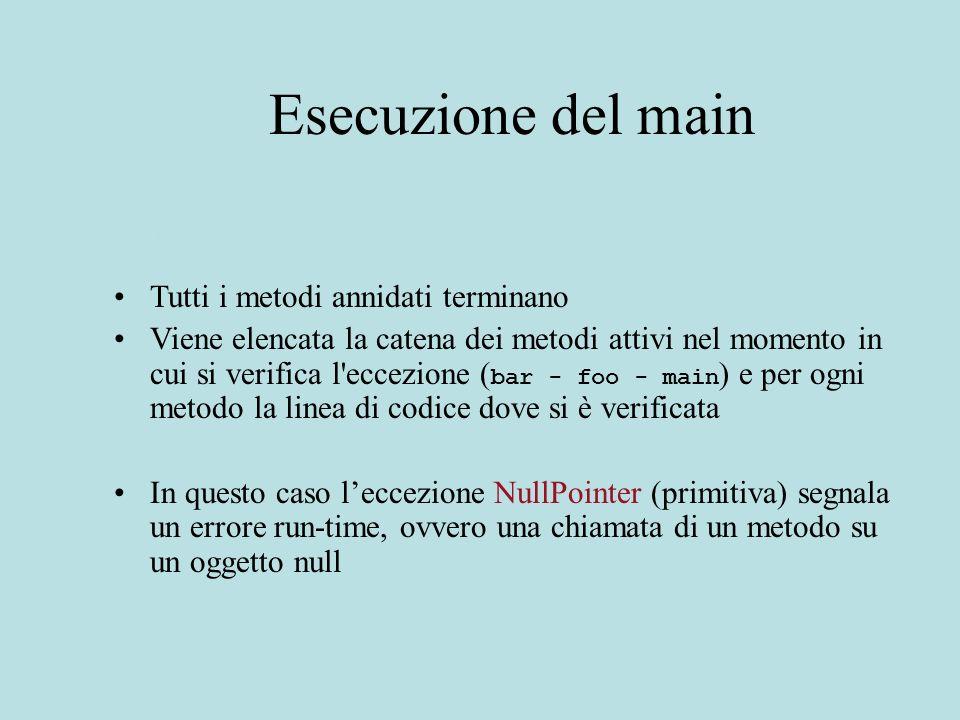Gestione Esplicita public static void usa-cerca() {.......try{cerca(b,8)} catch (NotFoundException e) {....codice che gestisce e...}; } Se cerca(b,8 ) termina lanciando NotFound il metodo esegue....