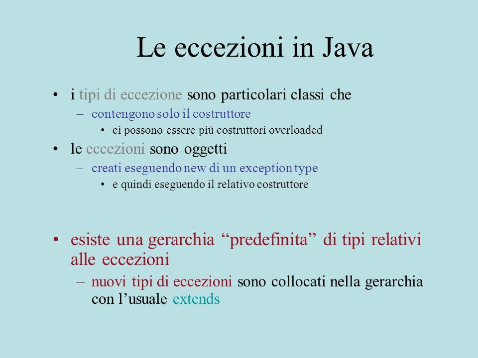 Le eccezioni in Java i tipi di eccezione sono particolari classi che –contengono solo il costruttore ci possono essere più costruttori overloaded le eccezioni sono oggetti –creati eseguendo new di un exception type e quindi eseguendo il relativo costruttore esiste una gerarchia predefinita di tipi relativi alle eccezioni –nuovi tipi di eccezioni sono collocati nella gerarchia con lusuale extends