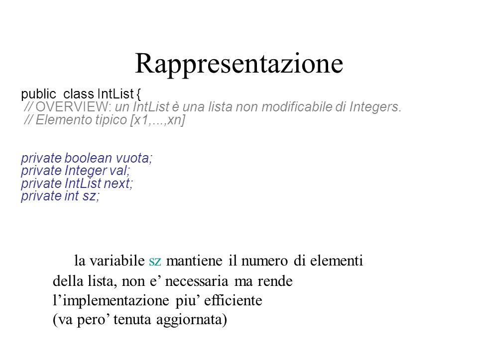 Rappresentazione public class IntList { // OVERVIEW: un IntList è una lista non modificabile di Integers. // Elemento tipico [x1,...,xn] private boole