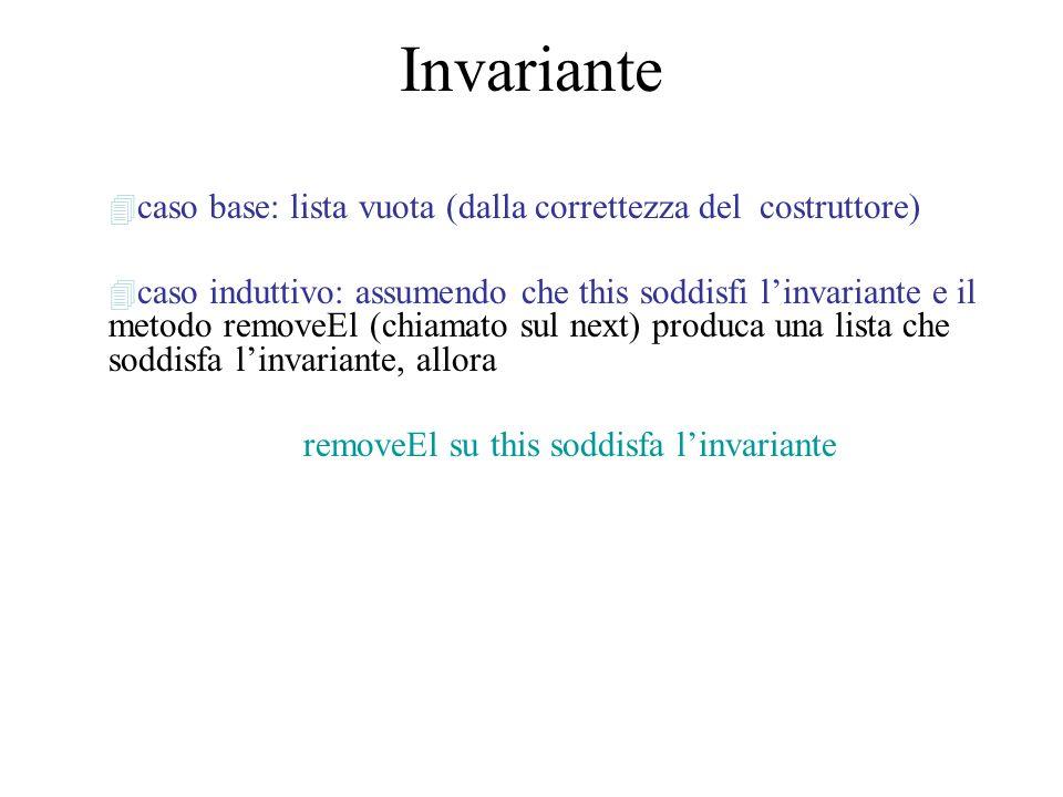 Invariante 4 caso base: lista vuota (dalla correttezza del costruttore) 4 caso induttivo: assumendo che this soddisfi linvariante e il metodo removeEl