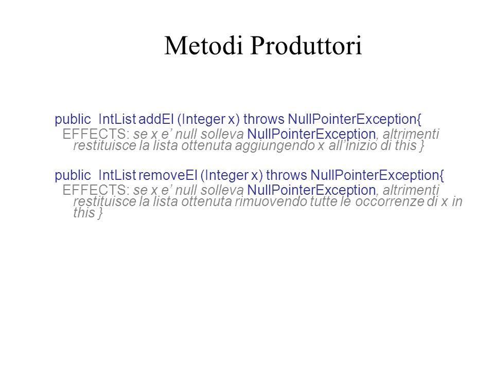 Reverse (senza iteratore) public static IntList reverse(IntList l) {// REQUIRES: l non e null //EFFECTS: restituisce una lista che e linverso di this if (l.size()==0) return new IntList(); else {IntList next=reverse(l.rest()); return next.LaddEl(l.first()); }