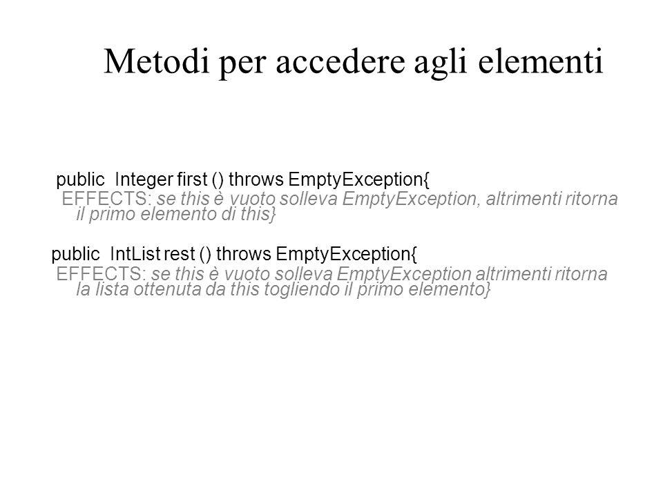 Specifica di IntList public int size () { EFFECTS: ritorna il numero di elementi di this} public Iterator elements () { EFFECTS: ritorna un generatore che produrrà tutti gli elementi di this (come Integers) nellordine che hanno in this } public boolean repOk (){// EFFECTS:standard} public String toString (){// EFFECTS: standard } }