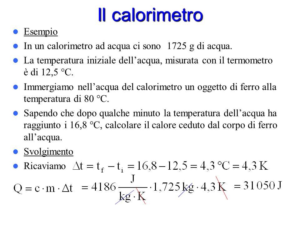 Il calorimetro Il calorimetro è lo strumento che serve per misurare la quantità di calore assorbita o ceduta da un corpo. Il tipo di calorimetro più d