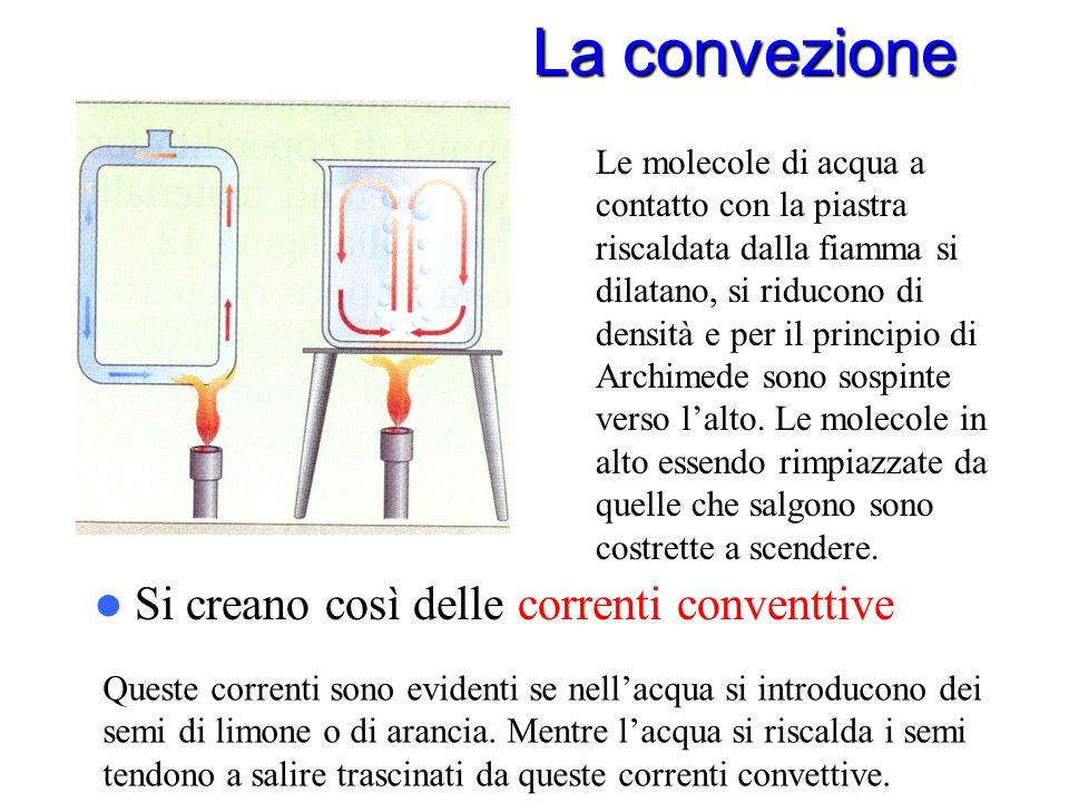 La convezione La convezione è il meccanismo di trasferimento di calore accompagnato da spostamento di materia. Interessa i fluidi (sia liquidi che gas