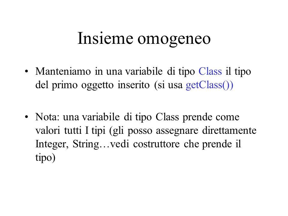 Insieme omogeneo Manteniamo in una variabile di tipo Class il tipo del primo oggetto inserito (si usa getClass()) Nota: una variabile di tipo Class prende come valori tutti I tipi (gli posso assegnare direttamente Integer, String…vedi costruttore che prende il tipo)