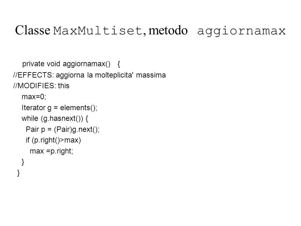 Classe MaxMultiset, metodo aggiornamax private void aggiornamax() { //EFFECTS: aggiorna la molteplicita massima //MODIFIES: this max=0; Iterator g = elements(); while (g.hasnext()) { Pair p = (Pair)g.next(); if (p.right()>max) max =p.right; }