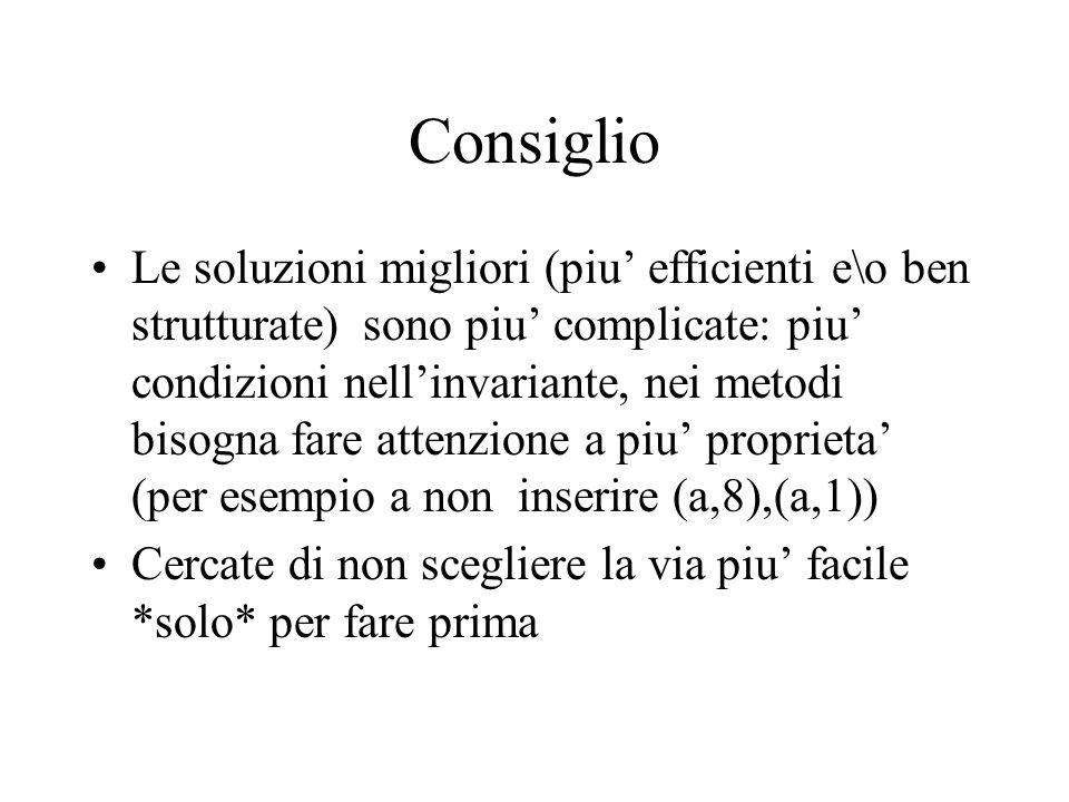 Consiglio Le soluzioni migliori (piu efficienti e\o ben strutturate) sono piu complicate: piu condizioni nellinvariante, nei metodi bisogna fare atten
